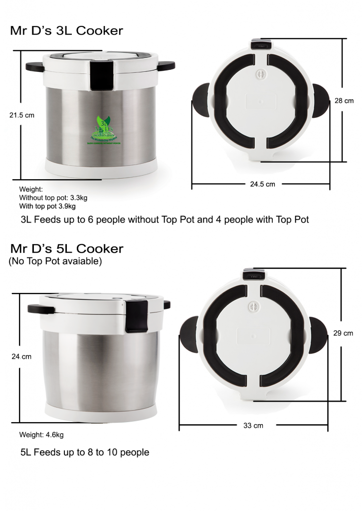 Mr D's Thermal Cooker sizes