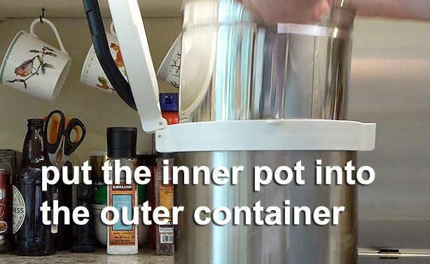 inner pot into the outer container